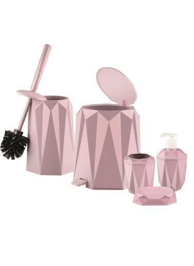 Quka Vanity Quka Vanity Prizma 5Li Akrilik Plastik Banyo Seti Pembe Renkli